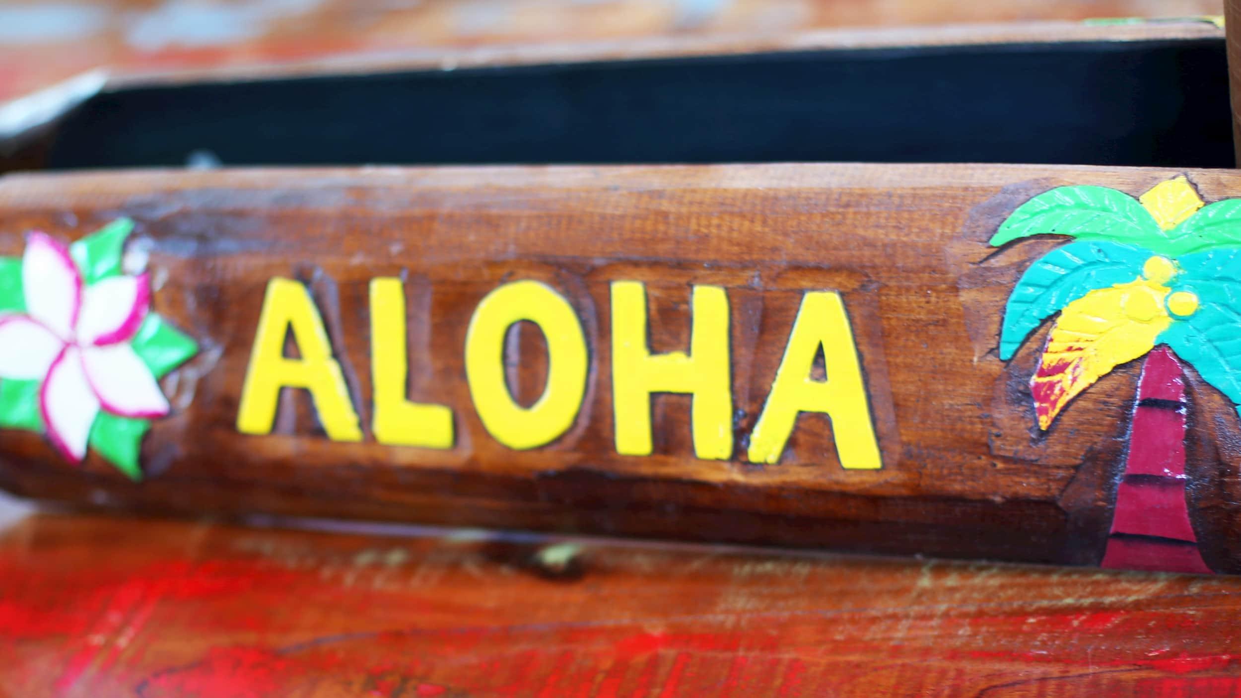 "Holzbrett mit Schriftzug ""Aloha"""